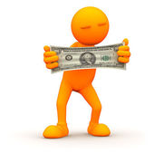 3d Guy: Stretching Your Money — Stock Photo
