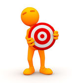 3d Guy: Standing Behind a Bullseye — Stock Photo