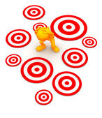 3d Guy: Standing Amid Targets Waiting to Be Hit — Stock Photo