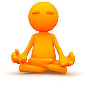 3d Guy: Meditating with Yoga — Stock Photo