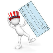 3d Guy: Uncle Sam with a Bank Check — Stock Photo