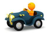 3d Guy: Man Driving Cartoon Car — Stock Photo