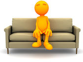 3d Guy: Sitting on Couch — Stock Photo