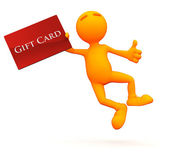 3d Guy: Jumping with a Gift Card — Stock Photo