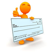 3d Guy: Thumbs Up with Blank Check — Stock Photo