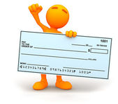 3d Guy: Cheering with Novelty Check — Stock Photo