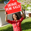 Home: Woman Wants to Sell House — Stock Photo