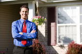 Home: Businessman Outside of Home — Stock Photo