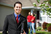 Home: Real Estate Agent Ready to Sell Home — Stok fotoğraf