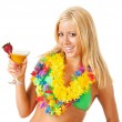 Swimsuit: Woman Holding Fruity Drink — Stock Photo