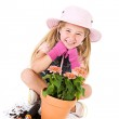 Gardener: Happy Girl With Potted Flower — Stock Photo