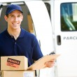 Delivery: Holding Stack of Boxes for Delivery — Foto Stock