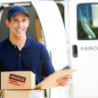 Delivery: Holding Stack of Boxes for Delivery — Stock Photo