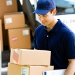 Stock Photo: Delivery: Taking Boxes From Vto Home