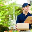 Stock Photo: Delivery: Holding Parcel for Delivery