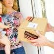 Delivery: Man Delivers Fragile Package — Stock Photo #24434839