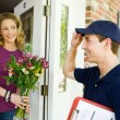 Delivery: Man Tips Hat to Owner — Stock Photo