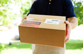 Delivery: Man Holding a Shipment — Stock Photo