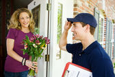 Delivery: Man Tips Hat to Owner — Stok fotoğraf