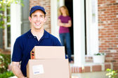 Delivery: Dropping Off Packages — Stock Photo