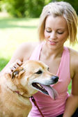 Park: Dog with Tongue Hanging Out on Hot Day — Stock Photo