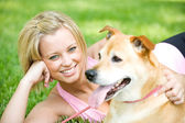 Park: Cute Woman with Dog — Stok fotoğraf