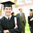 Graduation: Student Standing With Diploma — Stock Photo