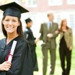 Graduation: Woman Graduate with Diploma — Stock Photo