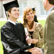 Graduation: Teacher Congratulates New Graduate — Stock Photo