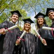 Graduation: Looking Up at Group of Graduates — Stock Photo