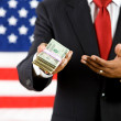 Politician: Politician Shows Money Stack — Stockfoto