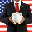 Politician: Saving Money in a Bank for the Future — Stock Photo