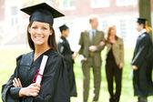 Graduation: Woman Graduate with Diploma — Stock Photo