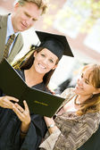 Graduation: Proud Daughter With Diploma and Parents — Stock Photo