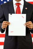 Politician: Holding Up Top Secret Document — Stock Photo