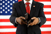 Politician: Empty Wallet Shows Poverty Concept — Stock Photo