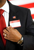 Politician: Wearing an Introduction Nametag — Stock Photo