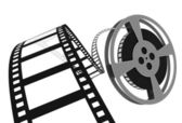 3d: Movie Film Spooling off of Reel — Stock Photo