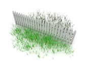 3d: Grass is Always Greener on the Other Side of the Fence — Stock Photo