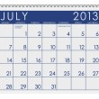 Calendar: July 2013 — Stock Photo
