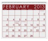 Calendar: February 2013 — Stock Photo