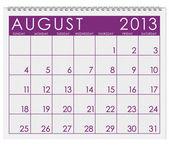 Calendar: August 2013 — Stock Photo