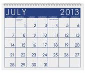 Calendar: July 2013 — Stock Photo