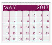 Calendar: May 2013 — Stock Photo