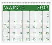Calendar: March 2013 — Stock Photo
