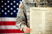 Soldier: Holding the United States Constitution — Stock Photo