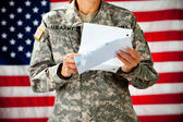 Soldier: Reading a Letter From Home — Stock Photo