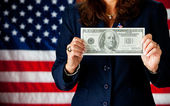 Politician: Holding a Large Hundred Dollar Bill — Foto Stock