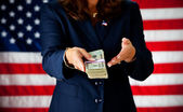 Politician: Holding a Stack of Cash — Stock Photo