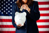 Politician: Putting Money in the Bank — Stock Photo